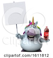 Poster, Art Print Of 3d Chubby Unicorn Holding A Soda On A White Background