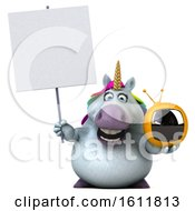 3d Chubby Unicorn Holding A Tv On A White Background