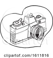 Sketched 35mm Slr Camera In A Heart