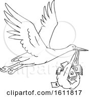 Clipart Of A Black And White Stork Delivering A Money Bag Royalty Free Vector Illustration