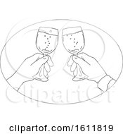 Black And White Sketchd Couple Toasting With Wine Glasses