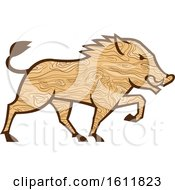 Wood Grain Textured Wild Boar Marching