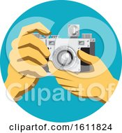 Clipart Of A Pair Of Hands Holding A Retro Vintage 35mm Film Camera Royalty Free Vector Illustration