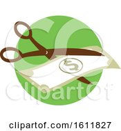Clipart Of A Pair Of Scissors Cutting A Dollar Bill In Half Royalty Free Vector Illustration