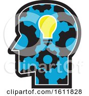 Clipart Of A Profiled Head With A Glowing Light Bulb And Gear Cogs Royalty Free Vector Illustration