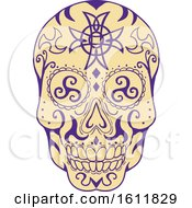 Clipart Of A Mexican Skull With Triskele And Celtic Cross Royalty Free Vector Illustration