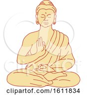 Clipart Of Gautama Siddhartha Gautama Or Shakyamuni Buddha Sitting In Lotus Position Royalty Free Vector Illustration