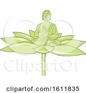 Clipart Of A Gautama Siddhartha Gautama Or Shakyamuni Buddha On A Lotus Flower Royalty Free Vector Illustration