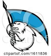 Tough Polar Bear Mascot Brandshing A Blue Flag