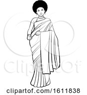 Black And White Woman With An Afro Wearing A Saree