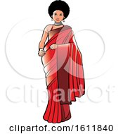 Clipart Of A Woman With An Afro Wearing A Red Saree Royalty Free Vector Illustration