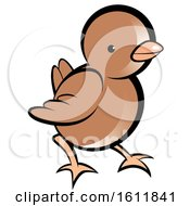 Clipart Of A Cute Brown Chick Royalty Free Vector Illustration by Lal Perera