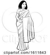 Clipart Of A Woman In A Saree Royalty Free Vector Illustration