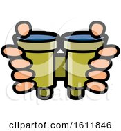 Clipart Of A Pair Of Hands Holding Binoculars Royalty Free Vector Illustration by Lal Perera