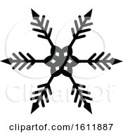 Clipart Of A Winter Snowflake In Black And White Royalty Free Vector Illustration