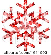 Clipart Of A Sparkly Red Christmas Snowflake Royalty Free Vector Illustration