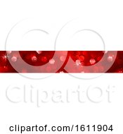 Clipart Of A Sparkly Red Christmas Website Banner Royalty Free Vector Illustration