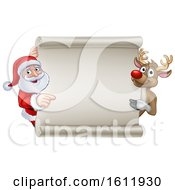 Santa And Reindeer Christmas Cartoon Sign