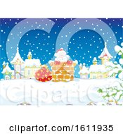 Clipart Of Santa Claus Climbing Down A Chimney In The Snow Royalty Free Vector Illustration