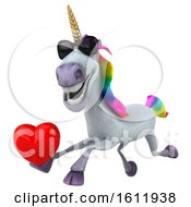 Poster, Art Print Of 3d Unicorn Holding A Heart On A White Background