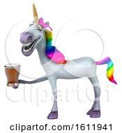 Poster, Art Print Of 3d Unicorn Holding A Beer On A White Background