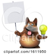 3d German Shepherd Dog Holding A Light Bulb On A White Background