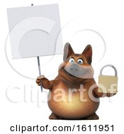 3d German Shepherd Dog Holding A Padlock On A White Background