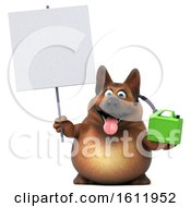 3d German Shepherd Dog Holding A Gas Can On A White Background