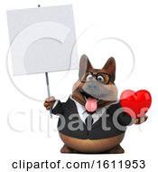 3d Business German Shepherd Dog Holding A Heart On A White Background
