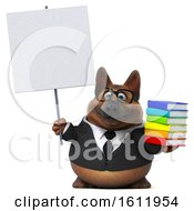 3d Business German Shepherd Dog Holding Books On A White Background