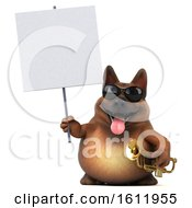 3d German Shepherd Dog Holding A Trumpet On A White Background