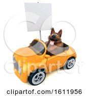 3d German Shepherd Dog Driving A Convertible On A White Background