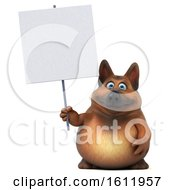 3d German Shepherd Dog Holding A Blank Sign On A White Background