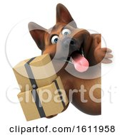 3d German Shepherd Dog Holding Boxes On A White Background