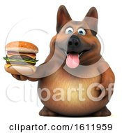 3d German Shepherd Dog Holding A Burger On A White Background