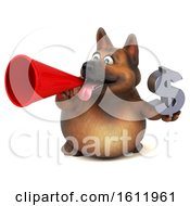 3d German Shepherd Dog Holding A Dollar Sign On A White Background