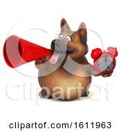3d German Shepherd Dog Holding An Alarm Clock On A White Background