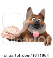 3d German Shepherd Dog Holding A Brain On A White Background