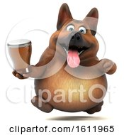 3d German Shepherd Dog Holding A Beer On A White Background