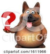 3d German Shepherd Dog Holding A Question Mark On A White Background