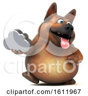 3d German Shepherd Dog Holding A Cloud On A White Background