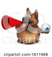 3d German Shepherd Dog Holding An Eyeball On A White Background