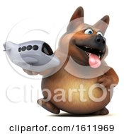 3d German Shepherd Dog Holding A Plane On A White Background
