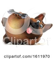 3d German Shepherd Dog Holding A Wrench On A White Background