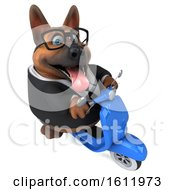 3d Business German Shepherd Dog Riding A Scooter On A White Background