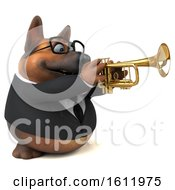 3d Business German Shepherd Dog Playing A Trumpet On A White Background