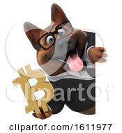 3d Business German Shepherd Dog Holding A Bitcoin Symbol On A White Background