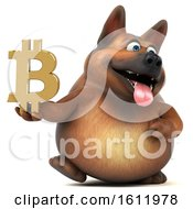 3d German Shepherd Dog Holding A Bitcoin Symbol On A White Background