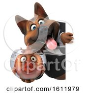 3d Business German Shepherd Dog Holding A Fish Bowl On A White Background