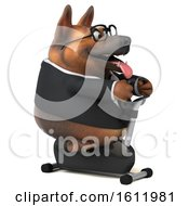 3d Business German Shepherd Dog Exercising On A Spin Bike On A White Background